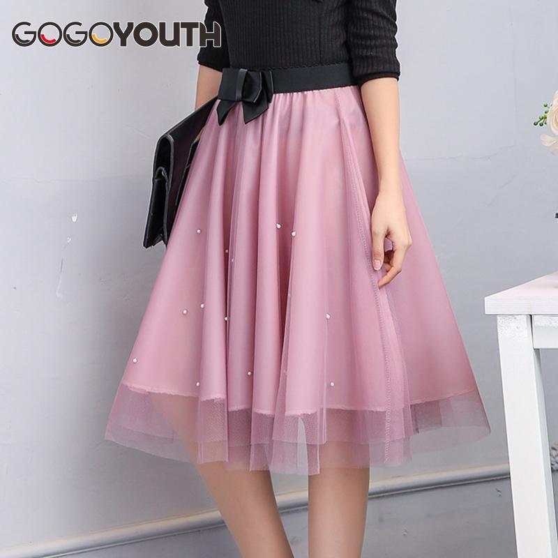 Compre Gogoyouth Adult Tulle Skirt Women 2018 Summer New Midi Longitud De  La Rodilla Korean Pearls Bow Elegante Plisado Sun Cintura Alta Falda Mujer  A ... 236fa74e40f4