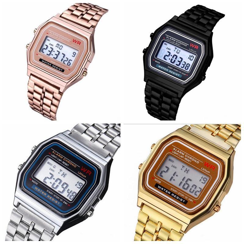 33c8ab711585 Slap Watch Relojes Inteligentes Relojes Electrónicos Hombres Classic Acero  Inoxidable Digital Retro Watch Relojes Deportivos Vintage Gold Y Silver  Digital ...