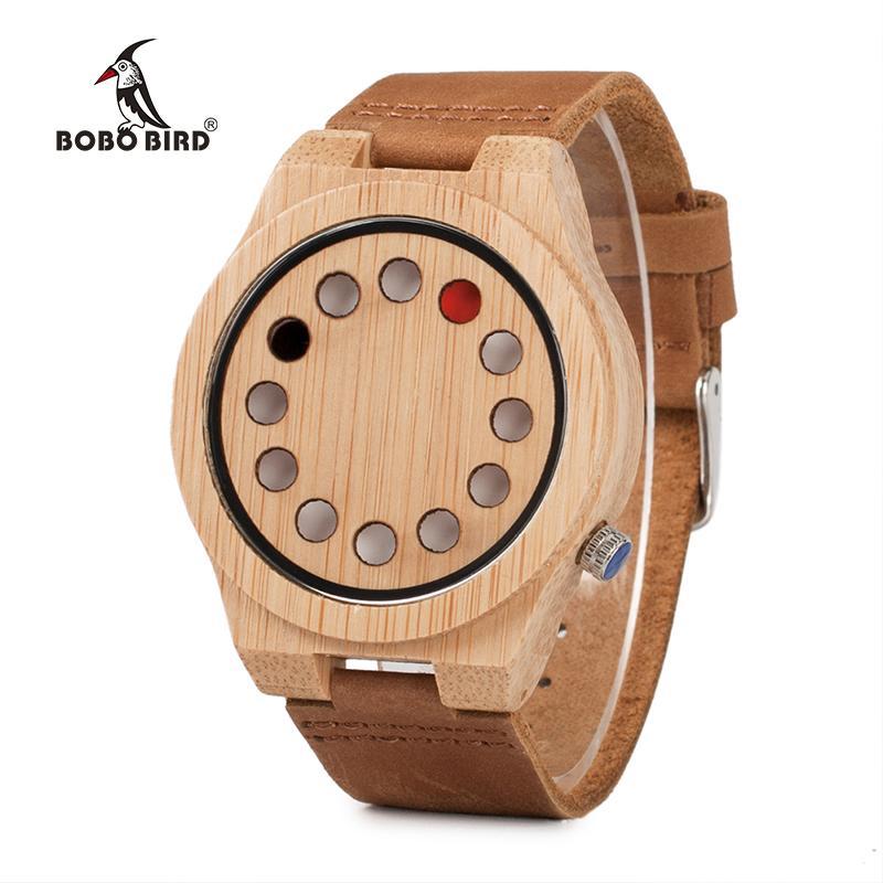 Bamboo Armbanduhren Dial Vogel Uhr Quarz Herren Mit Holz Luxus Uhren Löchern 12 Masculino Bobo Relogio XZPuki