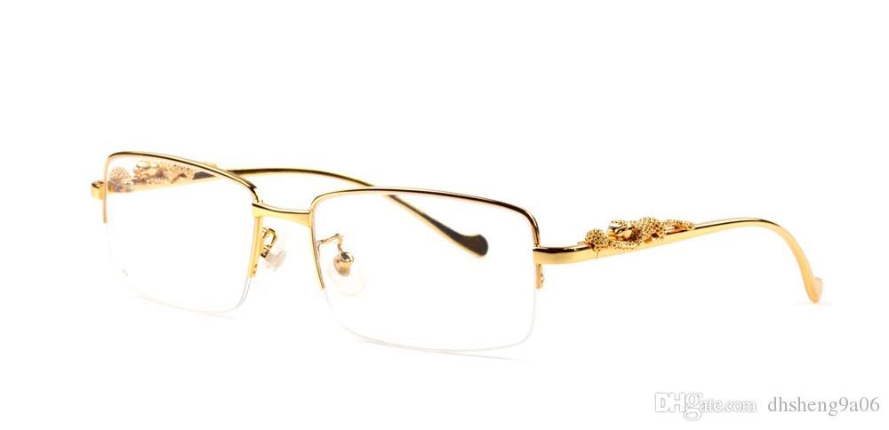f64ad0a874494 Compre Melhor Meia Moldura Óculos De Sol Para As Mulheres Dos Homens Chifre  De Búfalo Óculos De Leopardo Prata E Ouro De Metal Óculos De Sol De  Designer De ...