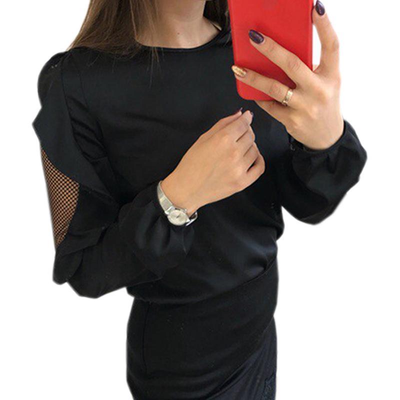 33cf880f423788 Mesh Patchwork Femme Long Sleeve Ruffles Kawaii Tops Women Autumn T Shirts  O Neck Sexy Red Tees Spring Tshirts Plus Size GV435 Funny T Shirt Slogans  Shirt ...