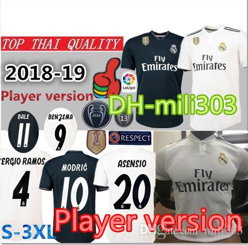 2019 18 19 Player Version Real Madrid Home Soccer Jersey 2018 2019 Top Thai  Quality MARIANO MODRIC BALE ASENSIO MARCELO ISCO Away Football Shirt From  ... 033ebcaab