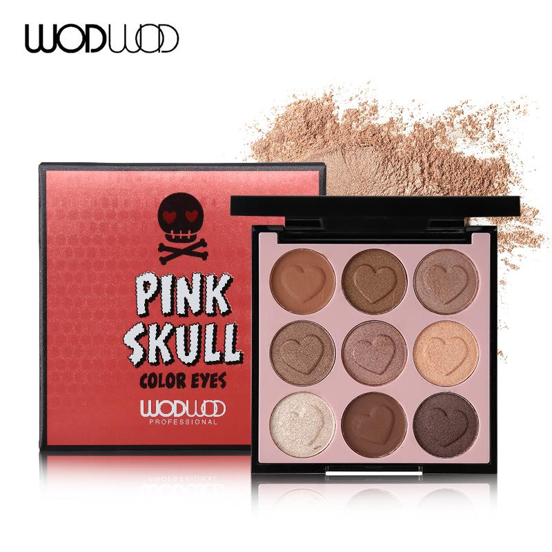 Brand 9 Colour Pink Skull Eyeshadow Makeup Palette Shimmer Matte Heart-shaped Pigmented Eye Shadow Cosmeic Nude Eyes Set#