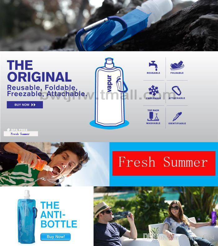 Popular Foldable Outdoor Sports Water Bag 480ML PVC Collapsible Water Bottle Environmental Ice Bag Kettle More Colors