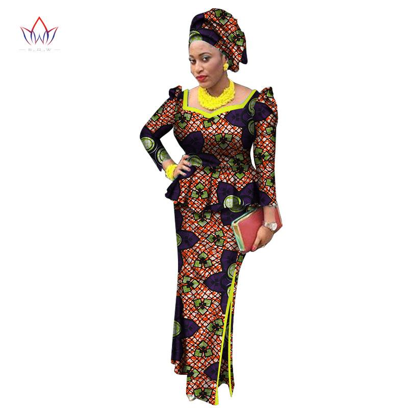 2e750a5fdca7e3 Style Africain Bazin Riche Robes Pour Femmes Deux Pièces Set Femmes Hauts  Manches Longues et Longue Jupe D impression Africaine