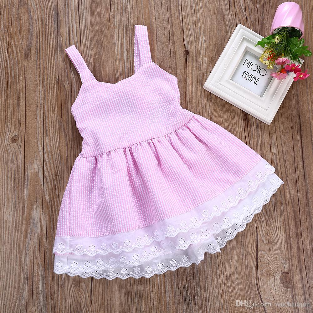Baby Mädchen Kleidung Sommer Kleid Kinder Mädchen Blau Gestreift Backless Bowknot Prinzessin Kleid Kinder Mode Spitze Blume Baumwolle Kleider