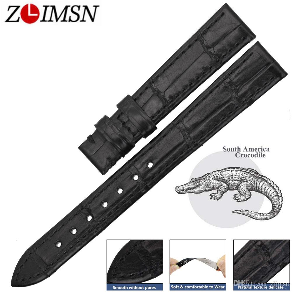 f52fac7bf ZLIMSN High Quality Genuine Alligator Watch Strap Band Black Crocodile  Leather Watchband Bracelet For OMEGA 14 24mm Debeer Watch Bands 18mm Watch  Band From ...