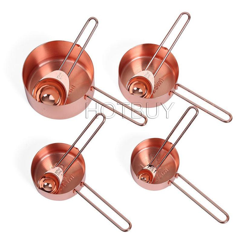 Copper Stainless Steel Measuring Cups Spoons Set of 8 Engraved Measurements Cookware Tools Pouring Spouts for Baking #4562