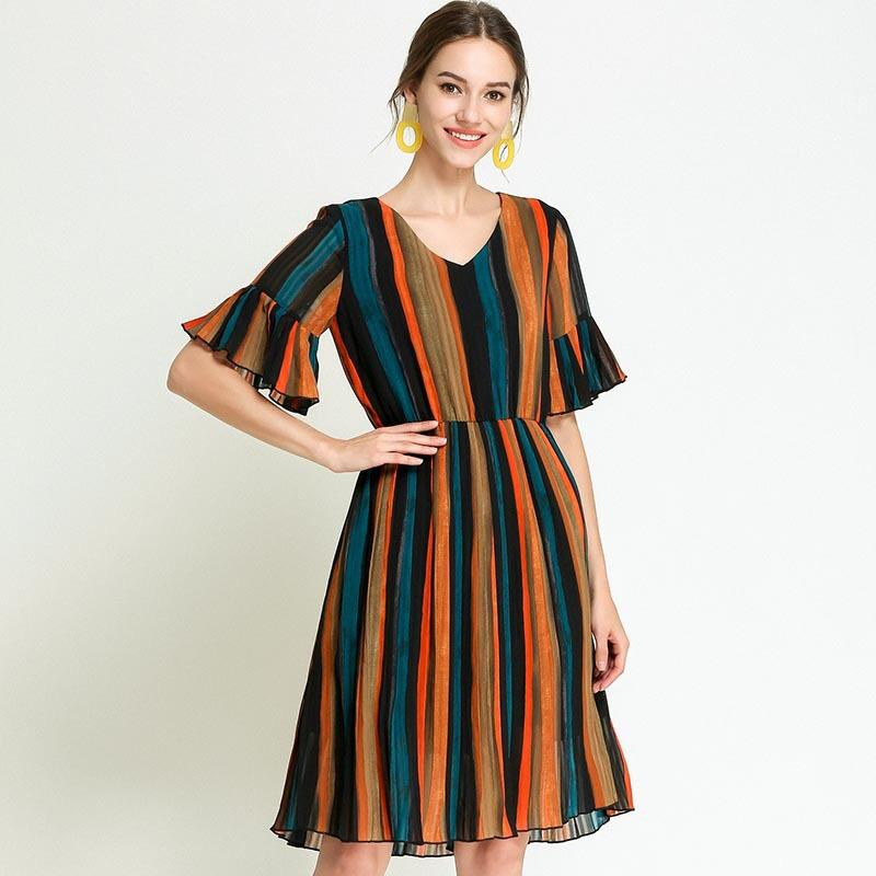 2018 Rainbow Vertical Striped Dress Summer Chiffon Dress Elegant Maternity  Loose Pregnancy Clothes Plus Size M-5XL Ruffles