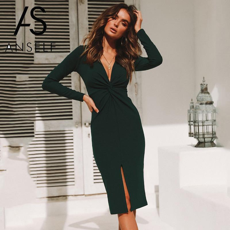 6d20aaae9a Women Bodycon Dress Pure Color Deep V Neck Twist Ruching Splits Long Sleeve  Slim Midi Elegant Ladies Office Work Wear One Piece Lime Green Dresses For  ...