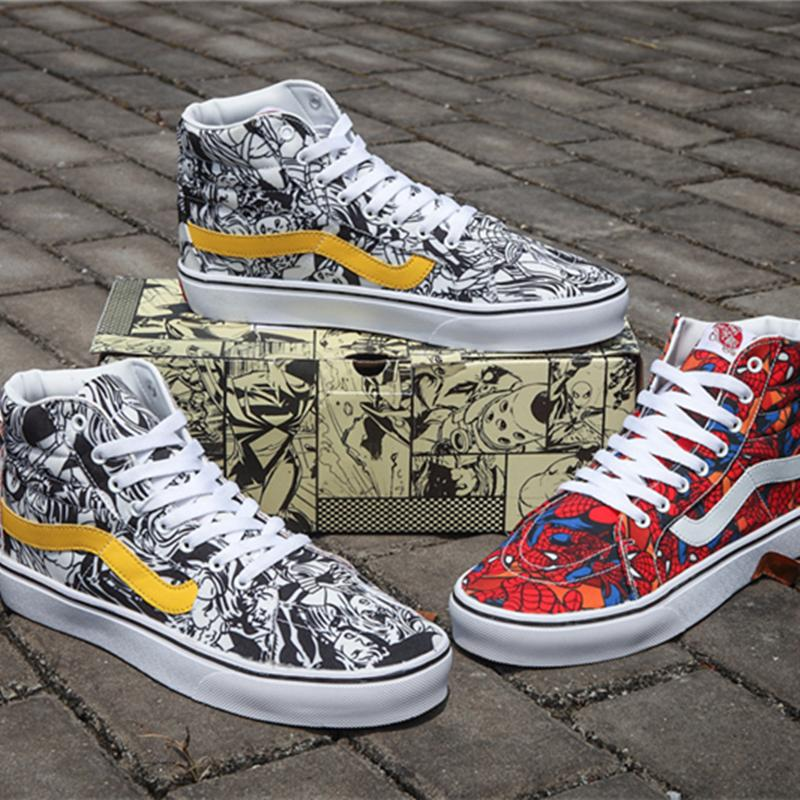 e543e730861 2018 VANSES Old Skool Marvel Casual Shoes Canvas Skateboard Designer Spider  Man Sports Shoes Men Women Skate Sneakers Comic Casual Trainers Navy Shoes  Blue ...