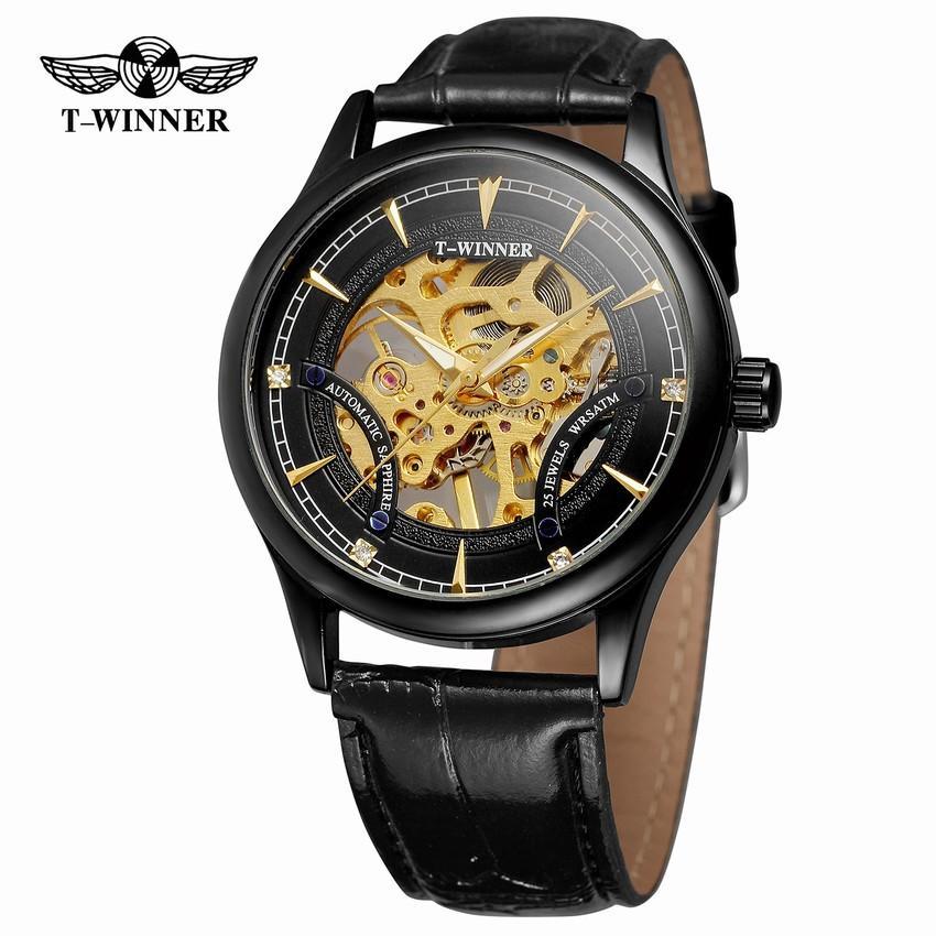 66f66837f75c Compre T WINNER Esqueleto Automático Reloj Hombres Auto Viento Relojes  Mecánicos Hombre Pulsera De Cuero Relojes De Pulsera Montre Homme  Automatique A ...