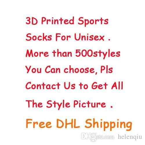 Calze sportive di moda Grande Brand New Kids Men 3D calza stampata Nuovo modello Hip Hop Cotton Sock Unisex SOX Animal Cartoon Skull