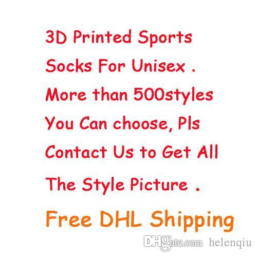 Fashion Sports Socks Big Brand New Kids Men 3D Printed Stocking New Pattern Hip Hop Cotton Sock Unisex SOX Animal Cartoon Skull