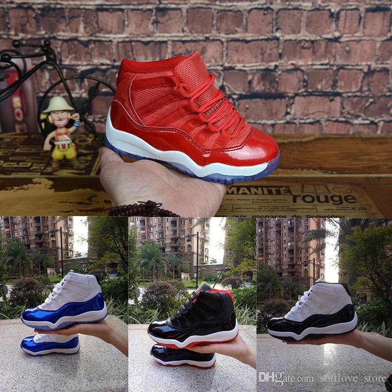 ceeab791e2de58 Compre Nike Air Jordan 11 Ginásio Vermelho XI 11 Sapatos Da Criança Criada  Espaço Jam Crianças Basquete Sneaker Concord Gamm Azul New Born Bebê  Infantil 11 ...
