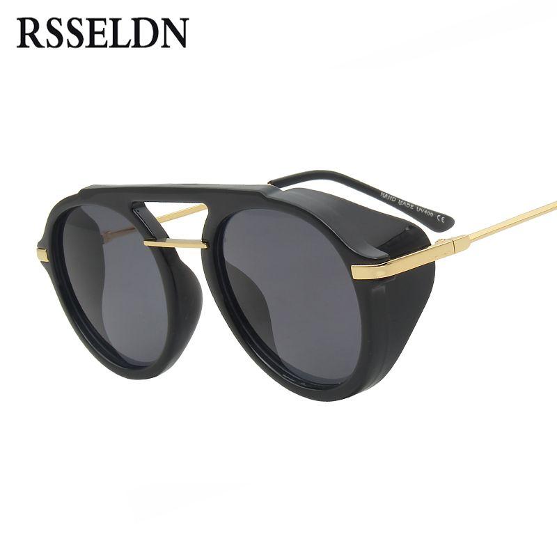 52a51e114c Compre RSSELDN Steampunk Gafas De Sol Hombres Marca Diseño Marrón Negro  Ronda Side Shield Gafas De Sol Para Mujeres Vintage Punk Eyewear UV400 A  $37.24 Del ...