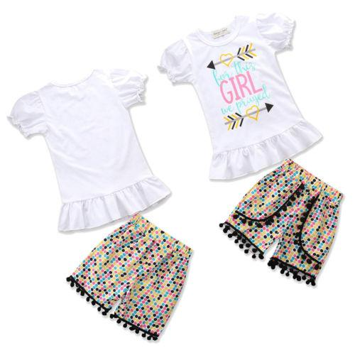 9151cc537 2019 Children Clothing Newborn Baby Girl Summer Tops T Shirt Tee Colored  Dots Pants Outfits Summer Outfit Set Clothes From Friendhi, $21.18 |  DHgate.Com