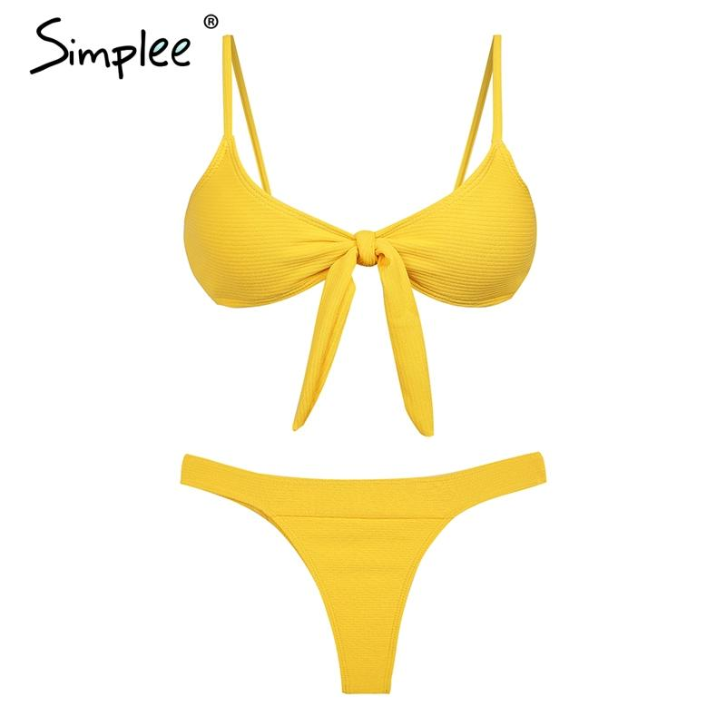 Simplee Knitted cotton sexy bra set women Padded bow plunge underwear panty sets Seamless lingerie intimates female