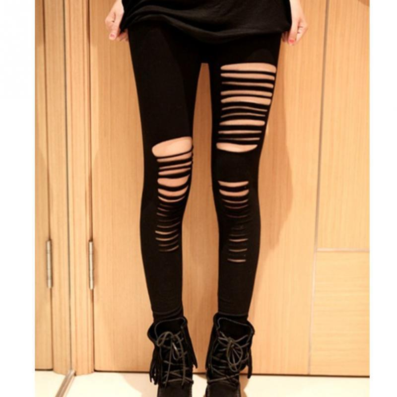 0d91c61025bac Fashion Style Summer Sexy Leggings Women Cotton Torn Ripped Hole Ninth Pant  Leggings Brand New Women Clothing Free Size Online with $23.31/Piece on ...