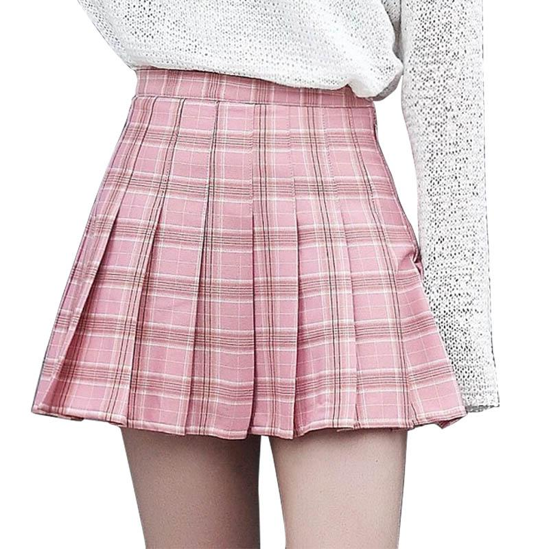 6a062c2031778 2019 High Waist Zipper Skater A Line School Skirt Plus Size Casual Summer  Women Girls Plaid Pleated Skirt Uniform With Inner Shorts From Maluokui