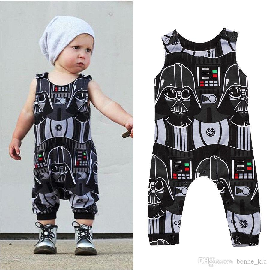 76b5e4532d2b 2019 Newborn Kids Baby Boys Black Sleeveless Romper Summer Casual ...