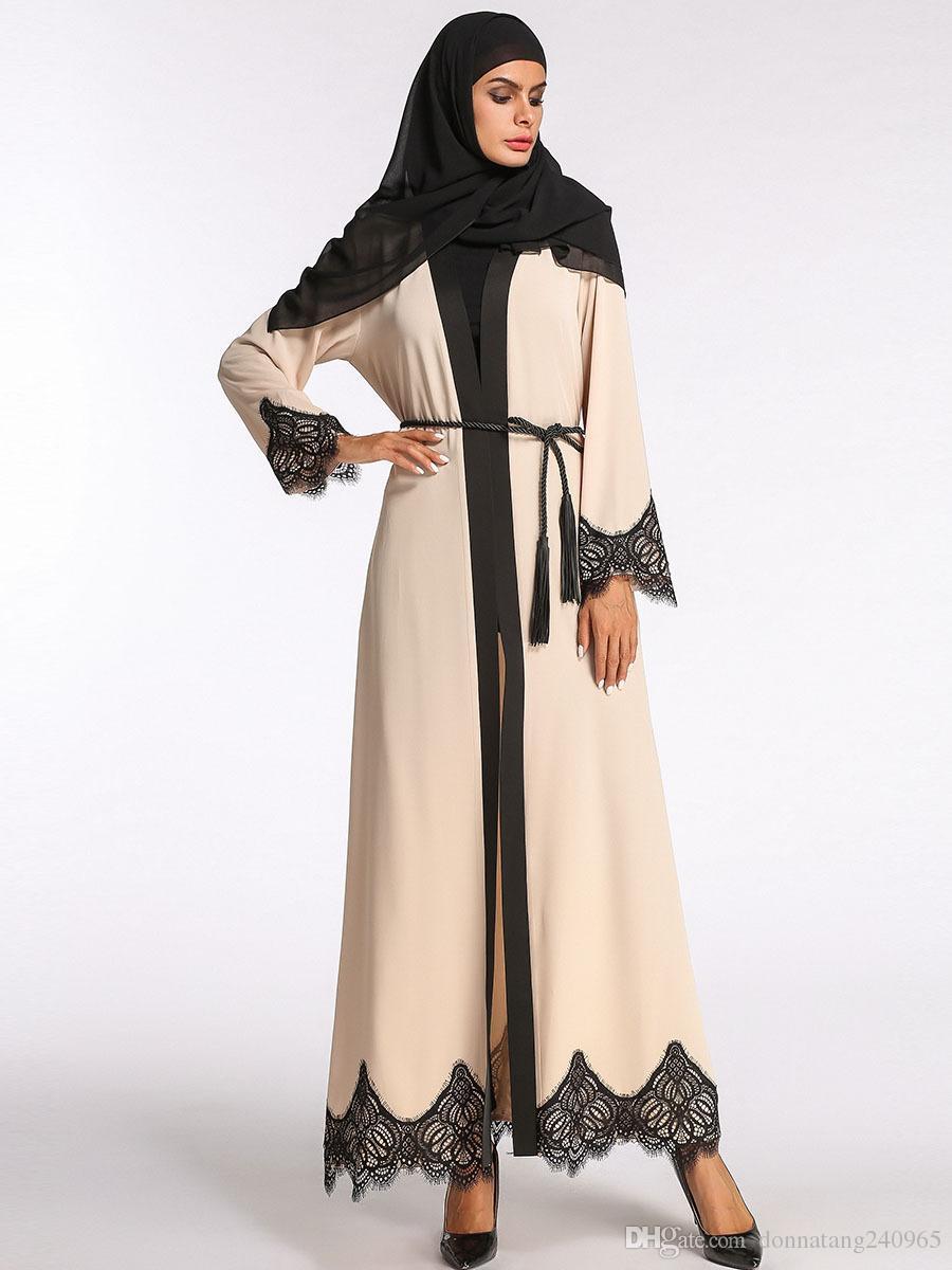 3fd5d1be28ea 2019 Fashion Muslim Abaya Maxi Dress Lace Hem Long Robe Cardigan Ramadan  Kimono Arab Dubai Thobe Islamic Clothing Prayer Worship Service From  Dujotree, ...