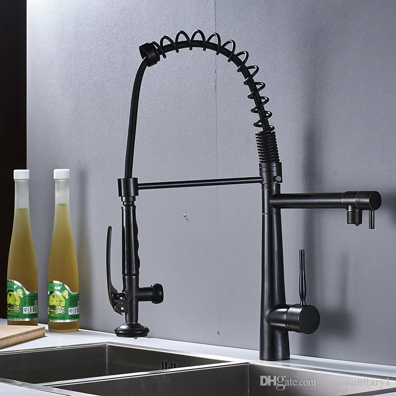 Oil Rubbed Bronze Pull Down Black Kitchen Faucet Deck Mount Single Handle Dual Spout Mixer Tap