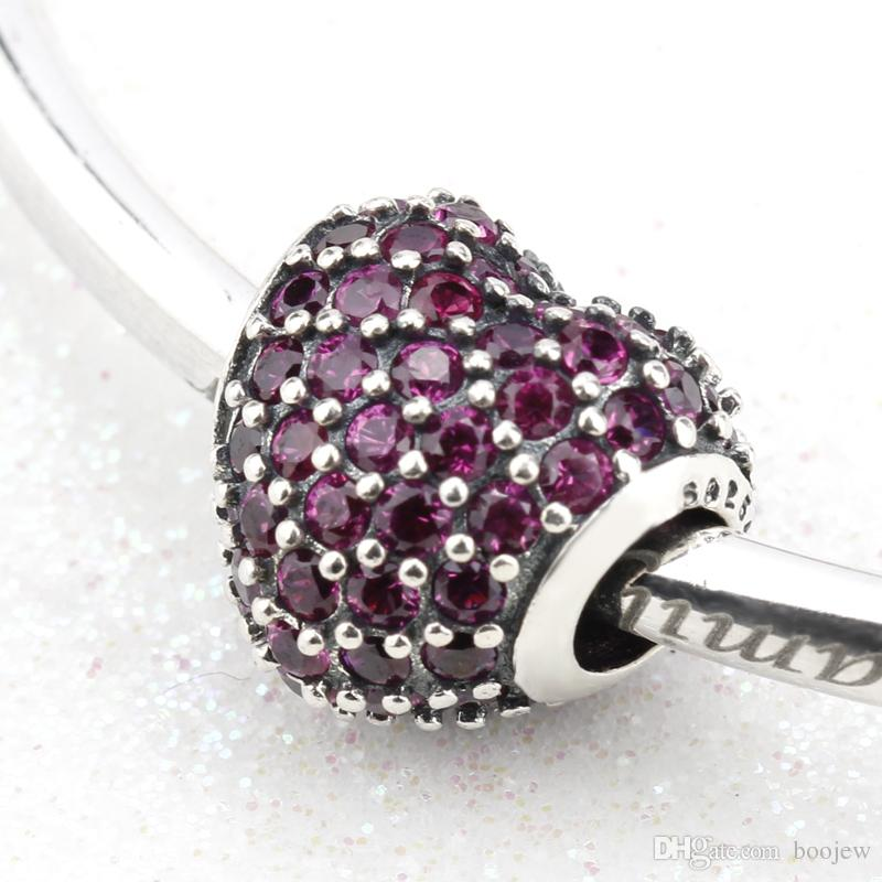 2018 Authentic 925 Sterling Silver Heart Shape with Purple CZ & Rivet Bead fit Original Bracelets for Women Jewelry