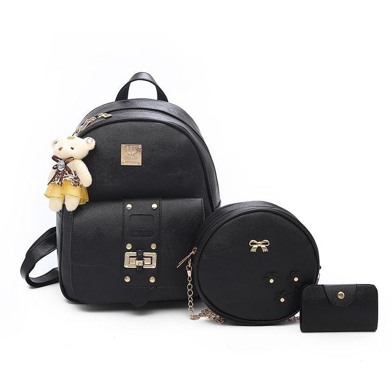 dd61fde0d5 Small Bear Women Backpacks Female School Bags For Teenage Girls Black PU  Leather Shoulder Bag Crossbody Purse Backpack Tactical Backpack Ogio  Backpack From ...