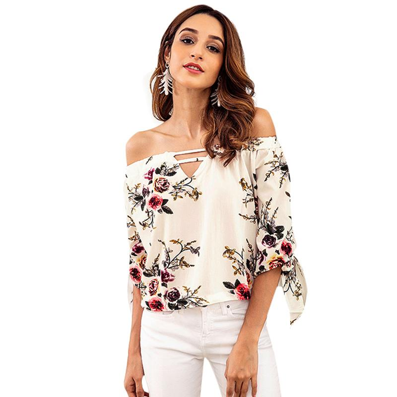 1c93dbbf1ad 2019 Sexy Women Chiffon Top Floral Off Shoulder Blouse Hollow Out Half  Sleeve Beach Summer Holiday Top Shirt Blusa Mujer De Moda 2019 From  Stephanie12, ...