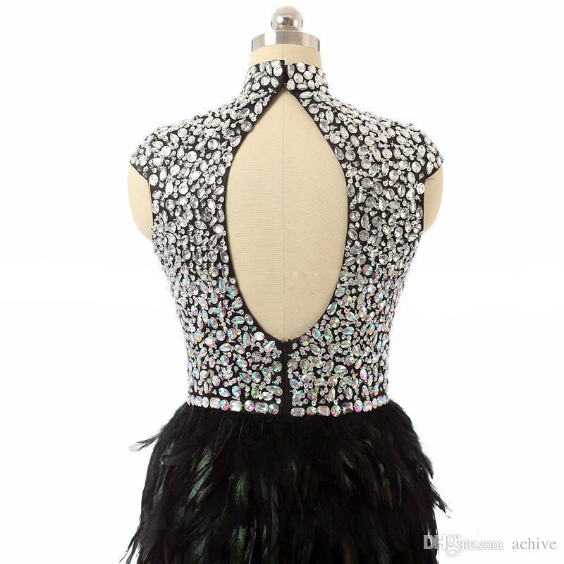 Высокая шея Кристалл бисера коктейльные платья 2020 Feather платья Backless Короткие платья выпускного вечера выполненное на заказ Выпускные платья платье партии