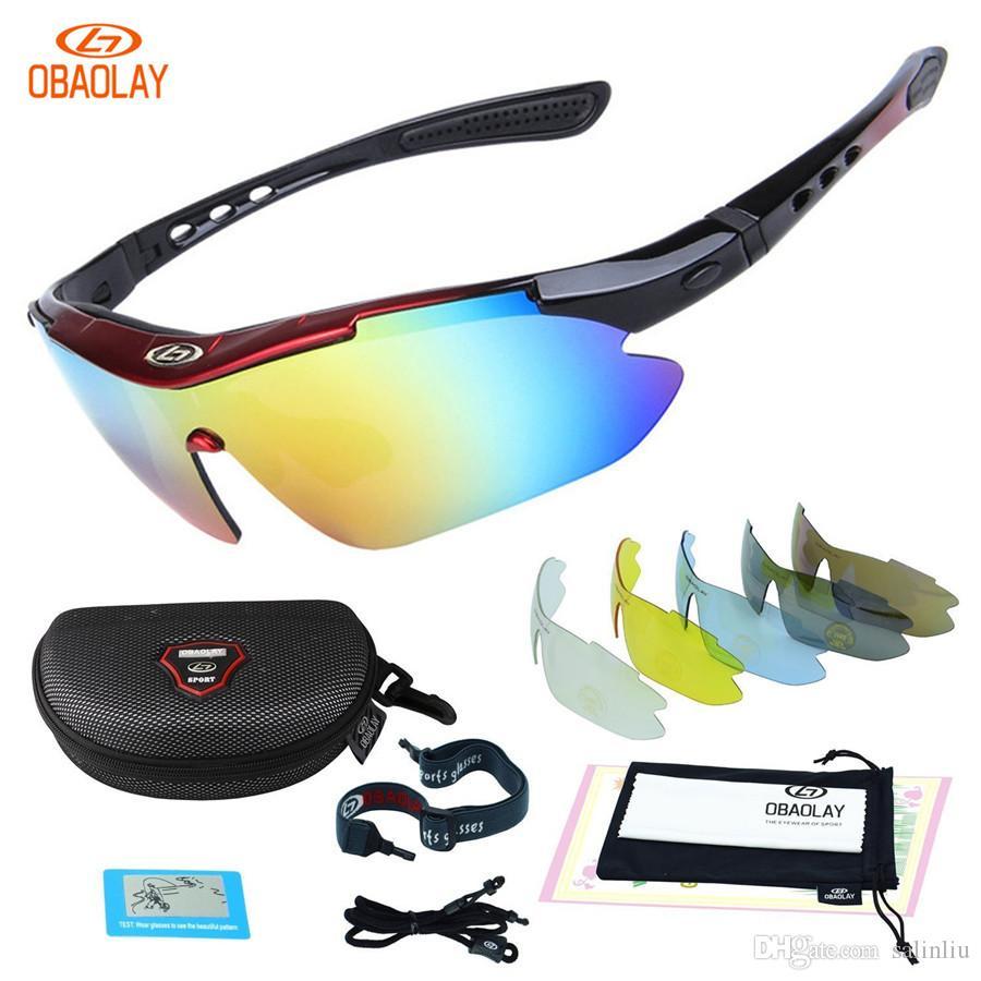 f208394c0 Compre OBAOLAY Polarized UV400 Ciclismo Óculos De Sol Da Bicicleta Da  Bicicleta Eyewear Goggle Equitação Esportes Ao Ar Livre Óculos De Pesca 5  Lente De ...