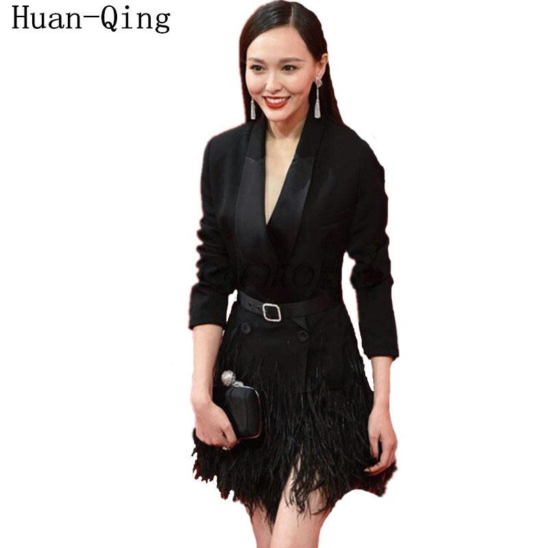 fff8a80d7e0 Vintage Autumn Runway Women Double Breasted Sashes Feather Tassel Black  Long Blazers Coat Long Sleeve Blaser Femenino Outerwear S18101304 Online  with ...