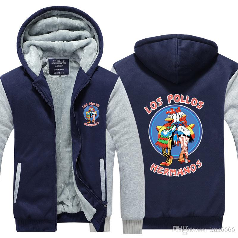 Men Fashion Breaking Bad Jacket 2018 LOS POLLOS Hermanos Hoodie Chicken Brothers Thicken Fleece Hot Sale Tops Plus size