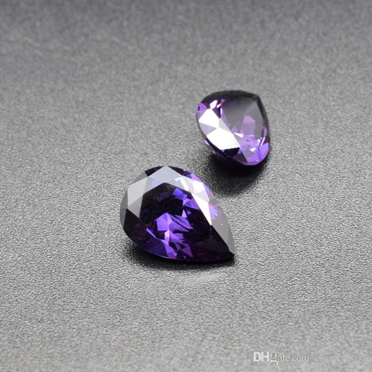 10x12mm-13x18mm 4 Sizes High Quality 3A Cubic Zirconia Amethyst Purple CZ Pear Cut Loose Gemstone Wholesale For Jewelry Making