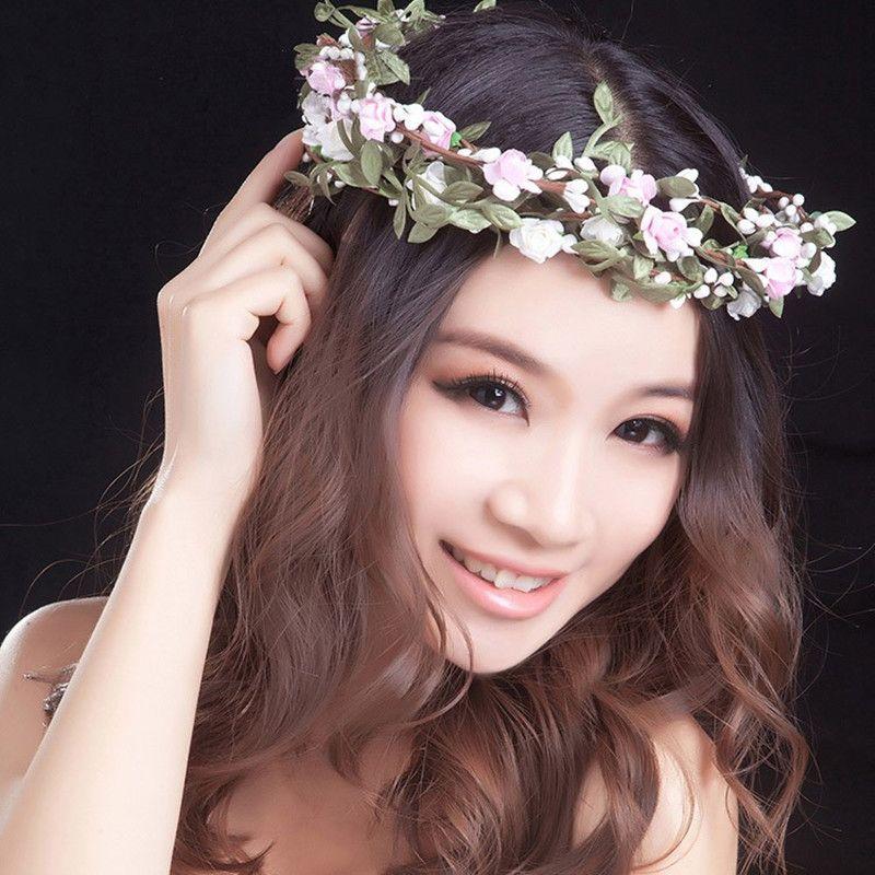 Hot Sale New Fashion Women Lady Bohemian Style Wreath Flower Crown Wedding  Garland Forehead Hair Head Band Beach Wreath Hair Accessories For Short Hair  ... 34f3f841d51