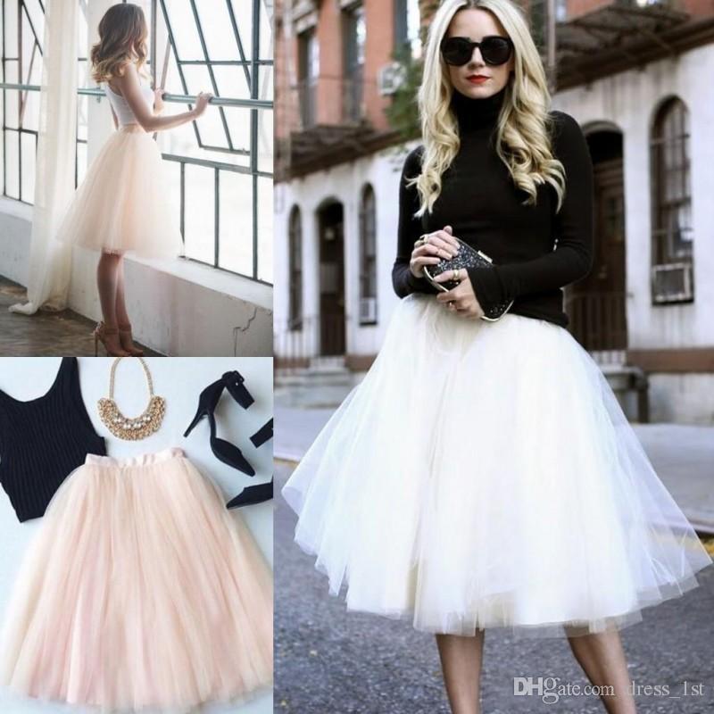 Hot Sales 2018 Bridesmaids Tutu Skirt Cheap A Line Puffy Tulle Knee Length  Custom Made Tulle Skirts Long Purple Bridesmaid Dresses Navy Bridesmaid  Dress ... a812de136