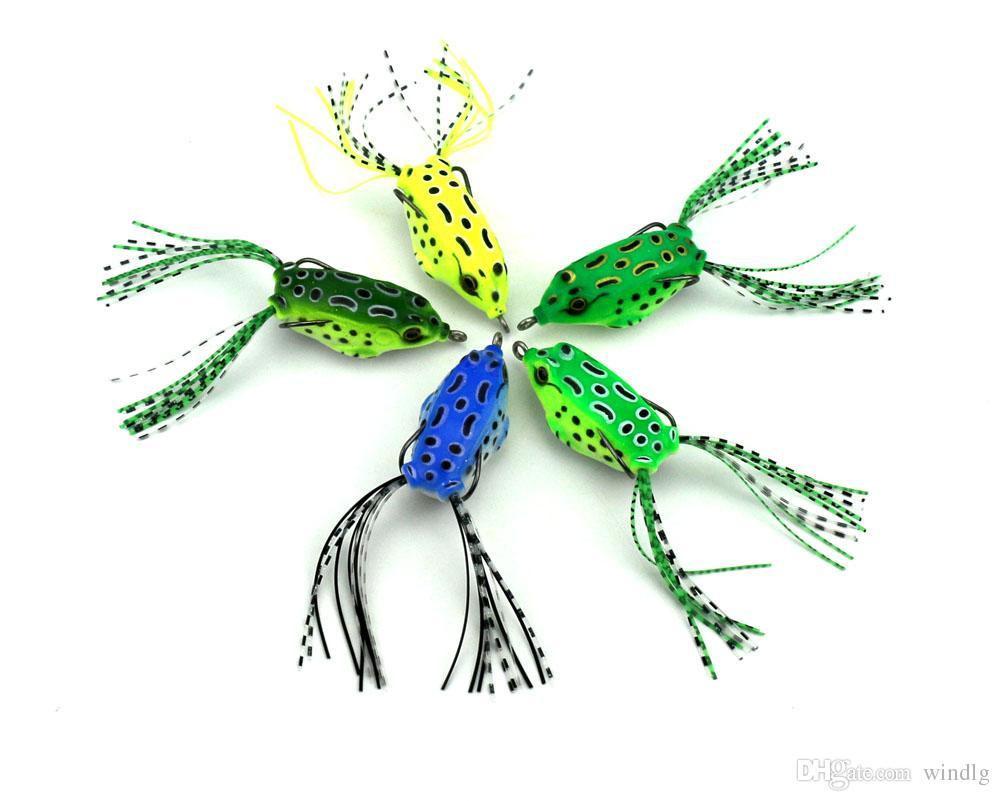 HENGJIA Topwater fishing with High carbon Soft frog Bait 5.5CM 8G Fresh Water Bass Walleye Crappie Minnow Fishing Lure wholesale