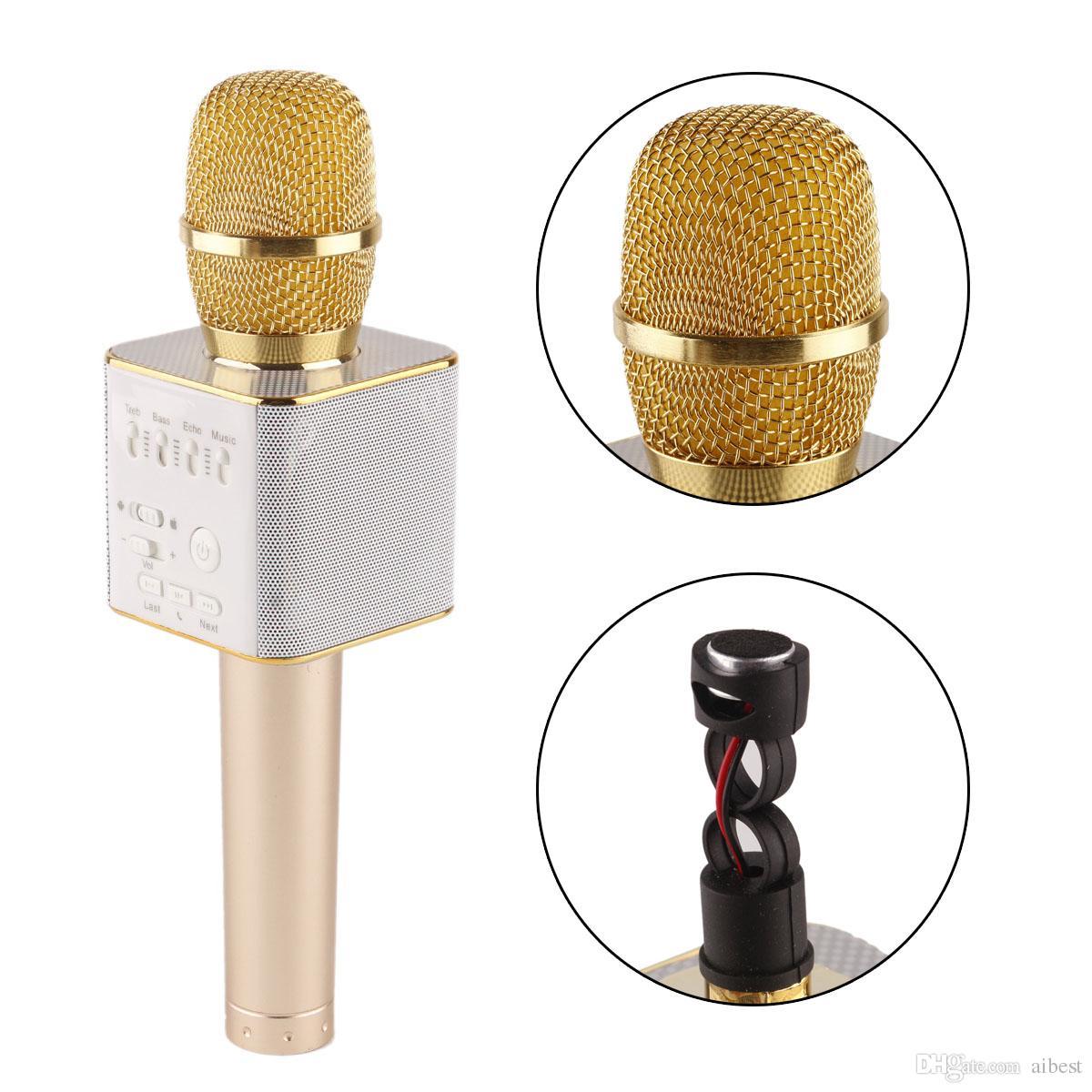 Q9 bluetooth mikrofon tragbare handheld wireless ktv karaoke-player dual hörner lautsprecher für iphone 7 plus samsung s7 edge