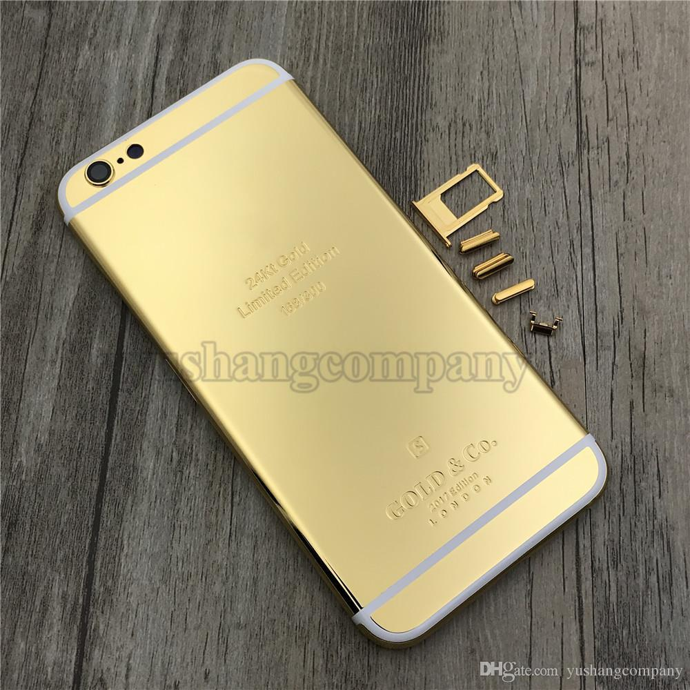 online retailer 14563 2585c 24K Gold Plating back Housing Cover Skin for iPhone 6s 24kt 24ct Limited  Edition Golden Back Cover Housing Battery Back For iphone 6s Plus