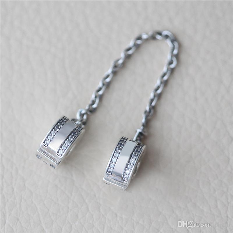 أزياء المرأة 925 فضة واضح تشيكوسلوفاكيا سلسلة السلامة كليب صالح باندورا سحر سوار diy صنع المجوهرات