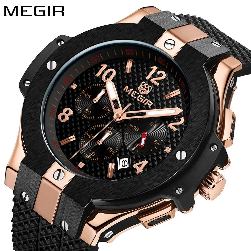 1fc75a828ef Fashion Megir Mens Watches Top Brand Luxury Rose Gold Watch Men Army  Chronograph Quartz Sport Wristwatch Man Clock 2018 Watches For Sale Online Watches  Sale ...