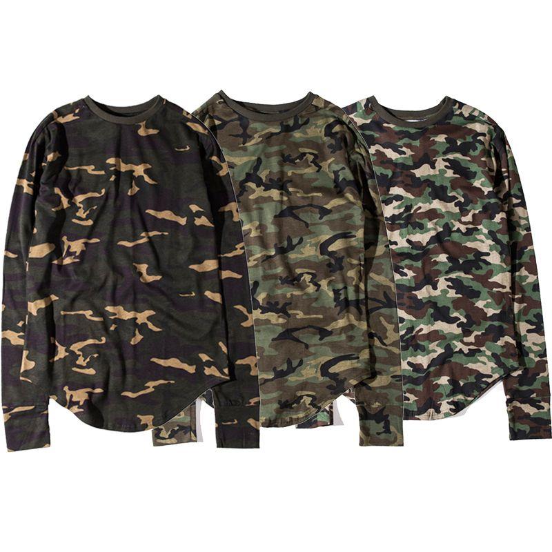 1971f930 Men's Long Sleeve Camouflage T-shirt Crew Neck Curved Hem Hip Hop Tee Top  Junior Boys 100% Cotton Casual Shirts BFSH0805