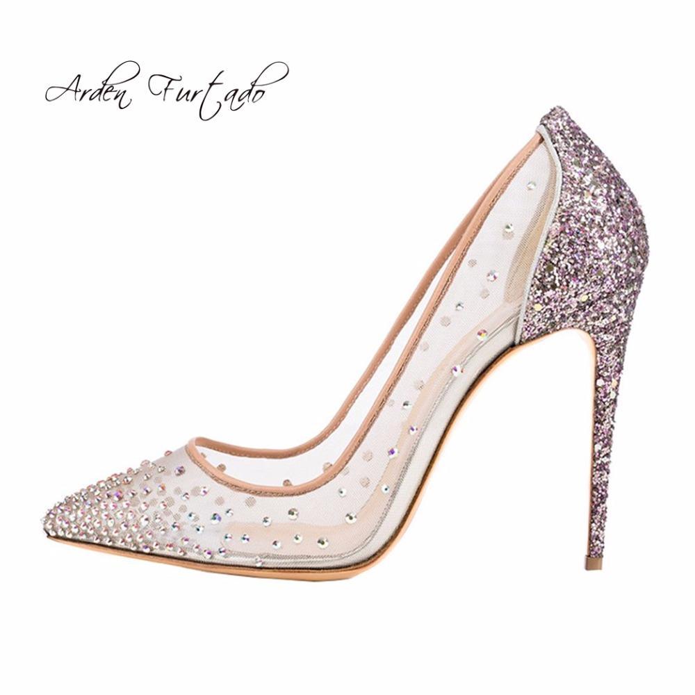 59dc45ac451 Arden Furtado new 2018 spring summer high heels 12cm stilettos bling bling  crystal clear mesh pumps wedding party shoes big size