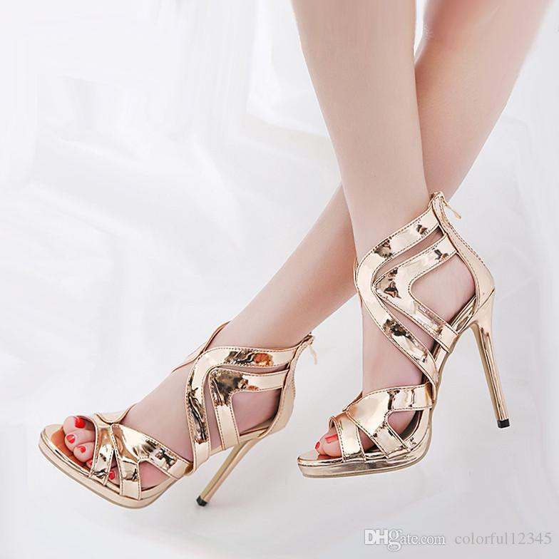 6590b53e028 Champagne Gold Cross Strappy Shoes Sexy High Heels 2018 Runway Show  Designer Shoes Size 35 To 40 Women High Heels Online with  36.53 Pair on  Colorful12345 s ...