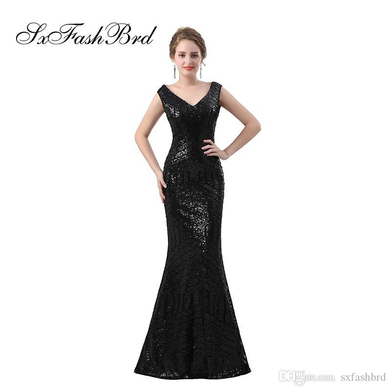 Vestidos Curtos Moda Elegante Vestido V Neck Sereia Preta Lantejoulas  Rendas Longa Festa Formal Vestidos De Noite Para As Mulheres Vestidos De  Baile ... bb3fbe1c79f4