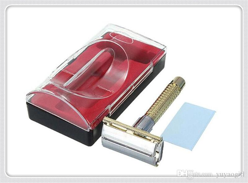 New Men's Safety Handheld Manual Shaver + Double Edge Safety Razor Blade Box