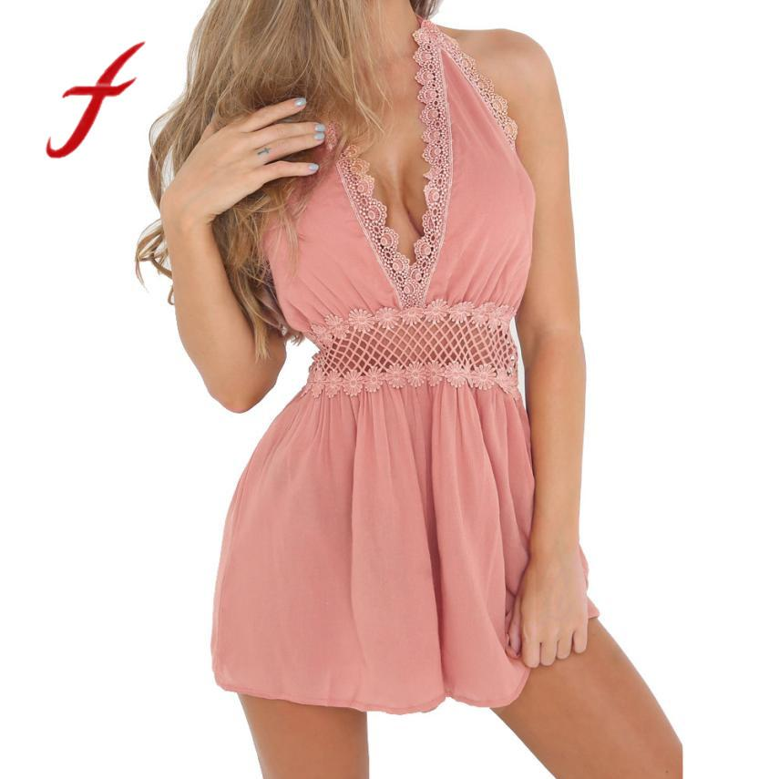 652632c92e92 2019 Feitong Summer Womens Sexy Lace Hollow Sleeveless Beach Jumpsuit Ladies  Holiday Short Mini Party Romper Overalls Women Playsuit From Cute08, ...