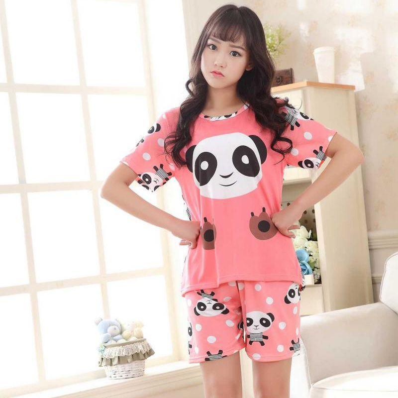 0f32f1271ad8 Conjuntos de pijamas para mujer Algodón Camisetas y pantalones de manga  corta Animal Print 2018 Set de pijama Ropa de dormir para mujeres Sexy ...