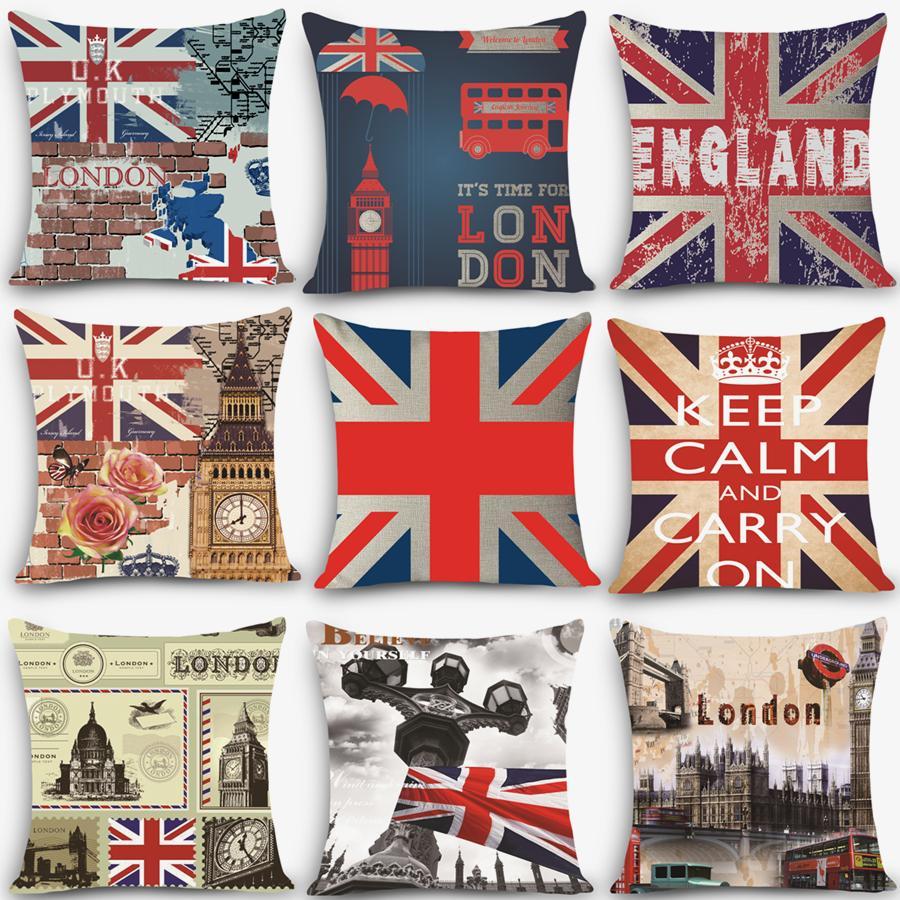 6c9c9cc870015d Estilo retro Euro almofadas baratas Inglaterra londres Imprimir Almofada  Decorativa Lance 18 Vintage Cotton Linen Quadrado MYJ-B1